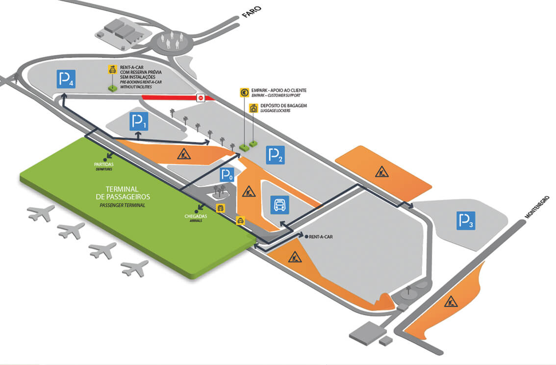 A map showing the layout of Faro Airport