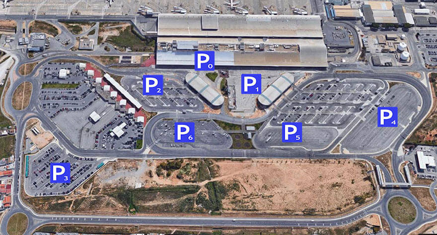 An overhead map showing the parking areas available at Faro Airport