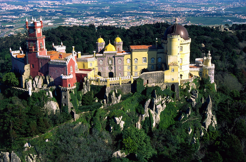 Pena Palace on the Serra de Sintra mountaintop (Portugal)