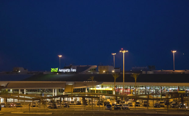 Faro Airport at night