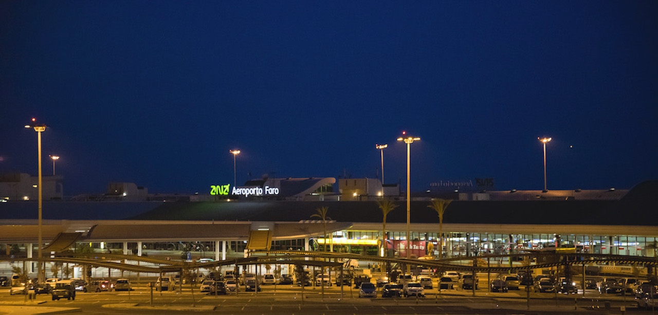 Faro Airport at night